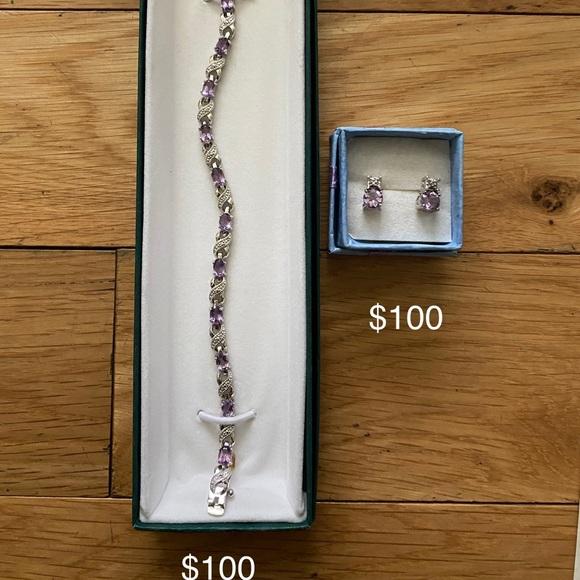 Amethyst bracelet and earrings
